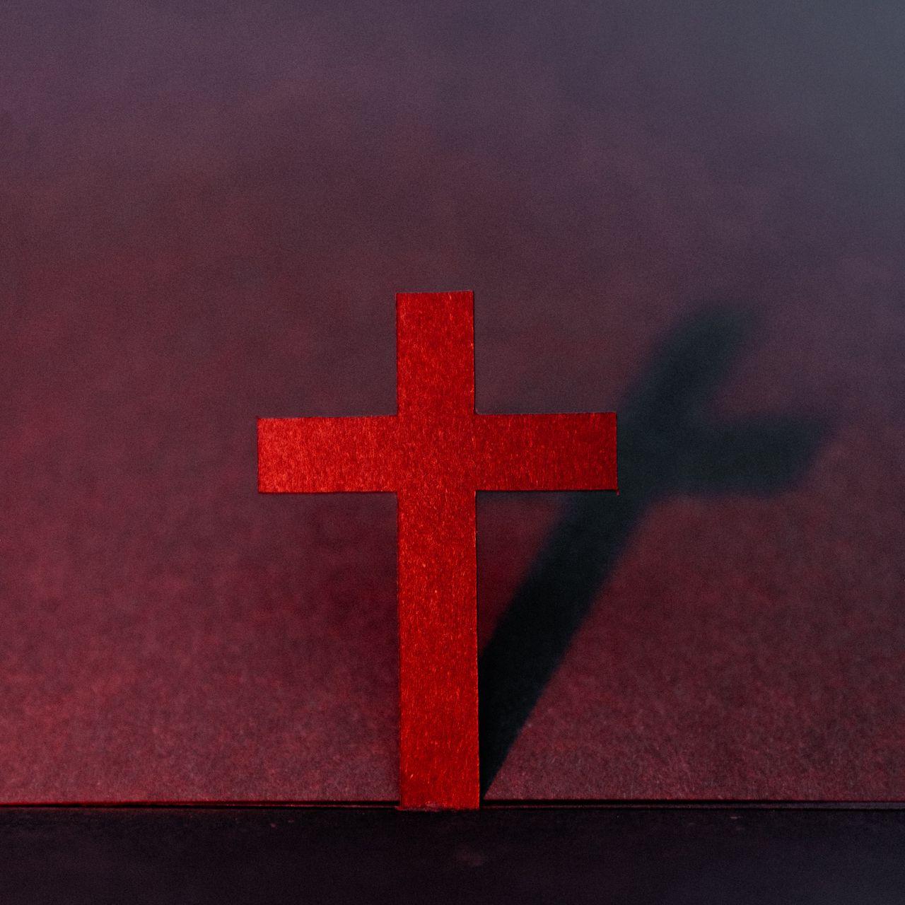 1280x1280 Wallpaper cross, religion, god, red