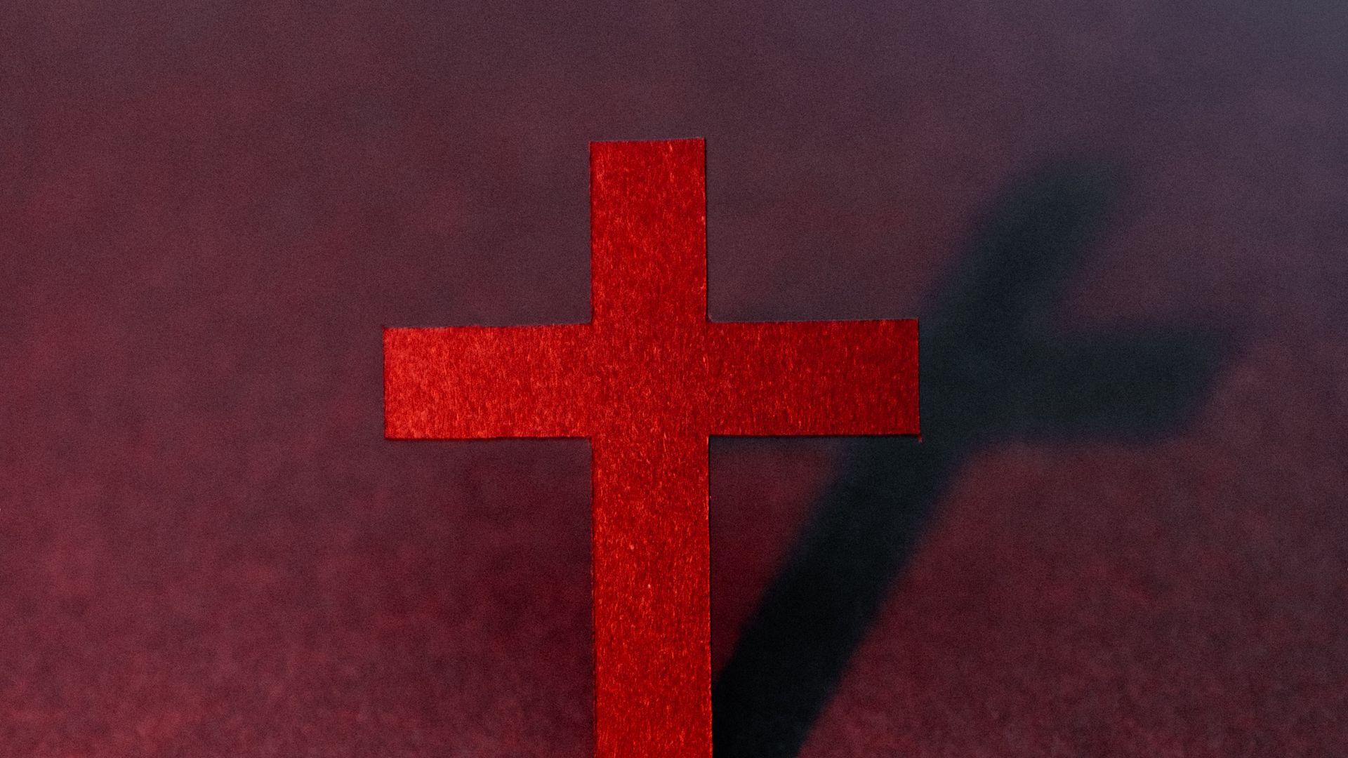 1920x1080 Wallpaper cross, religion, god, red