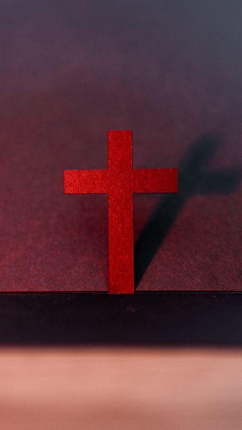480x854 Wallpaper cross, religion, god, red