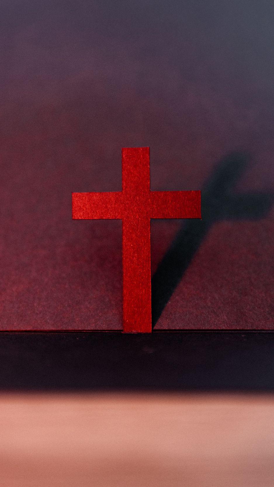 938x1668 Wallpaper cross, religion, god, red