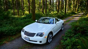 Preview wallpaper crossfire srt6, chrysler, convertible, forest, white, road, trees
