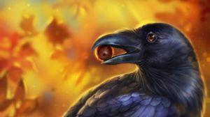 Preview wallpaper crow, bird, art, beak, acorn, leaves