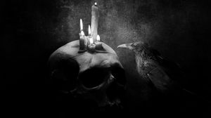 Preview wallpaper crow, bird, drawing, skull, candle