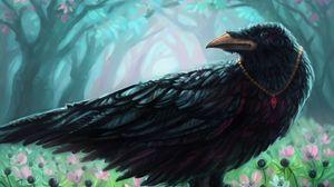 Preview wallpaper crow, bird, pendant, flowers, art