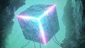 Preview wallpaper cube, 3d, neon, backlight