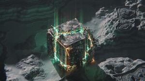 Preview wallpaper cube, circuit, chip, glow
