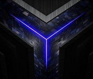 Preview wallpaper cube, circuit, chips, glow, neon