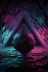 Preview wallpaper cube, figure, dark, tunnel, backlight, 3d