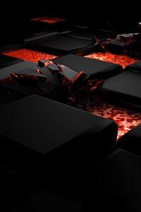 Preview wallpaper cube, fire, dark, light, alloy