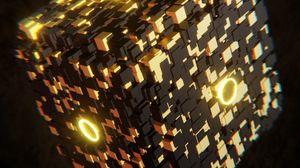 Preview wallpaper cube, glow, figure, 3d, volume