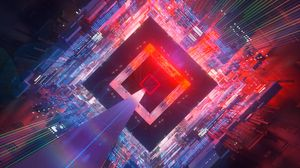 Preview wallpaper cube, space, flight, circuit, immersion, futuristic, art