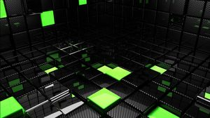 Preview wallpaper cube, square, green, black, space