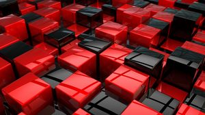 Preview wallpaper cubes, red, black, area