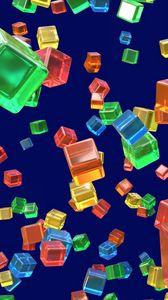 Preview wallpaper cubes, shapes, transparent, colorful, 3d