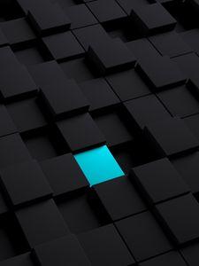 Preview wallpaper cubes, structure, black, blue