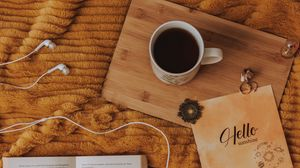 Preview wallpaper cup, coffee, book, inscription