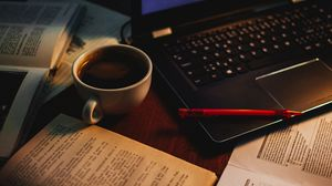 Preview wallpaper cup, coffee, books, pen, laptop