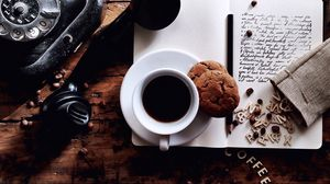 Preview wallpaper cup, coffee, cookies, notebook