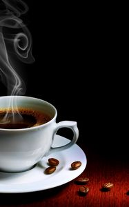 Preview wallpaper cup, coffee, steam, hot, grains, table