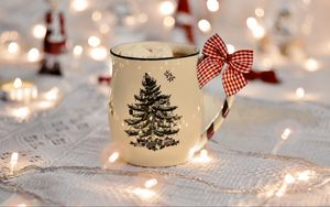 Preview wallpaper cup, garland, new year, bow