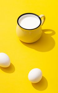 Preview wallpaper cup, milk, eggs, yellow