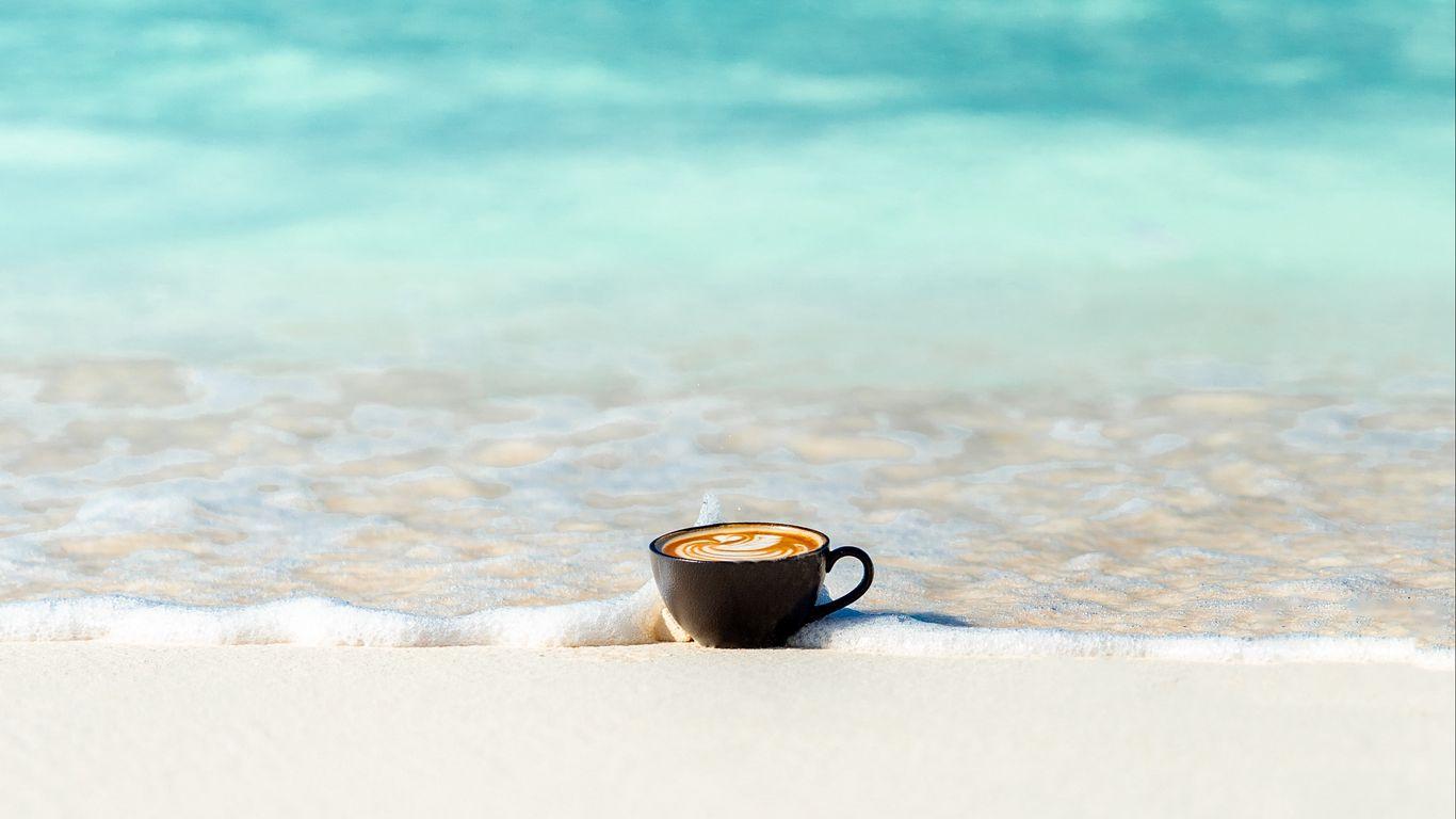 1366x768 Wallpaper cup, ocean, sand, coast, minimalism