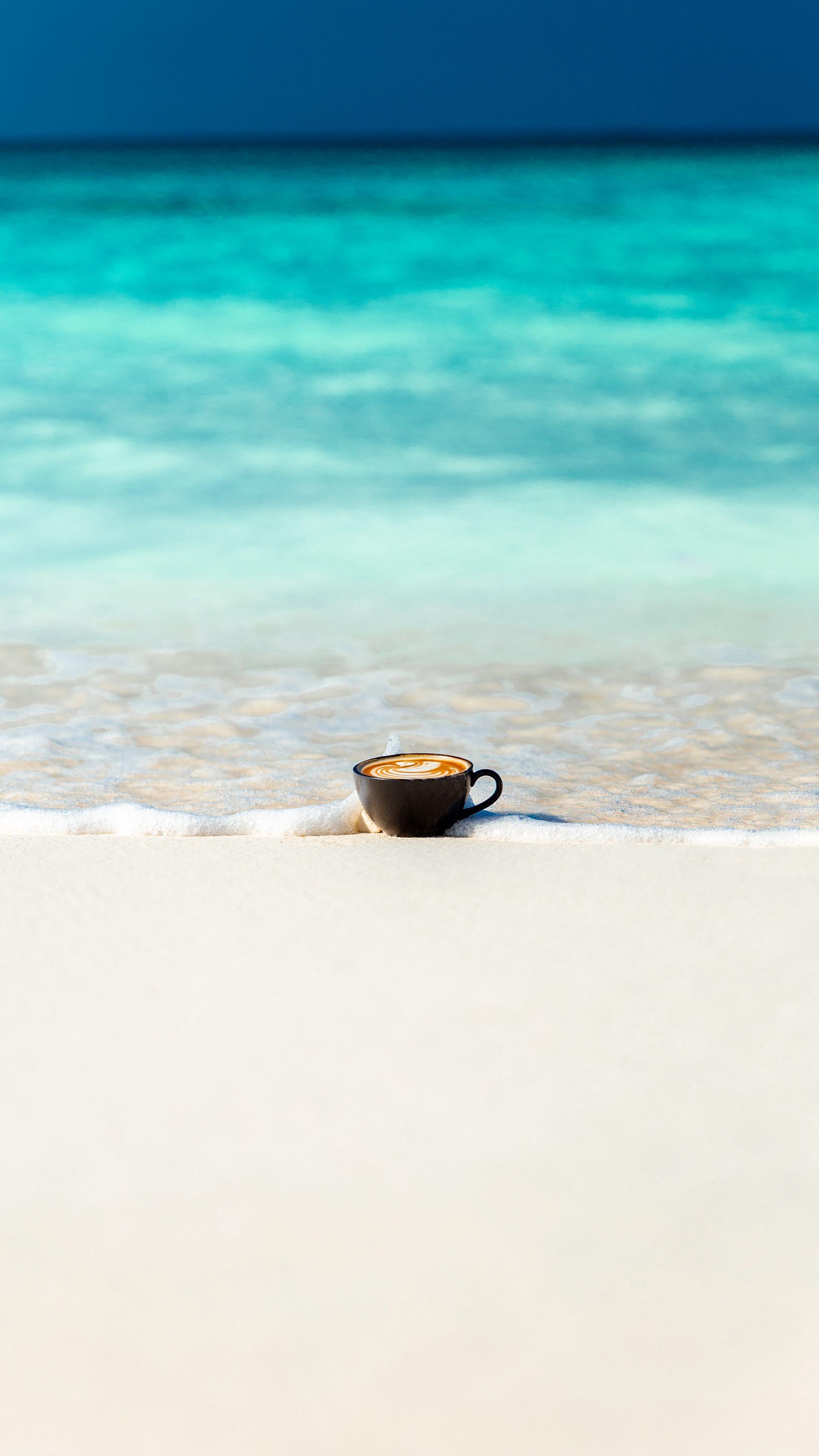 2160x3840 Wallpaper cup, ocean, sand, coast, minimalism