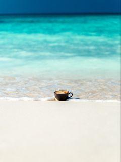 240x320 Wallpaper cup, ocean, sand, coast, minimalism
