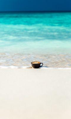 240x400 Wallpaper cup, ocean, sand, coast, minimalism