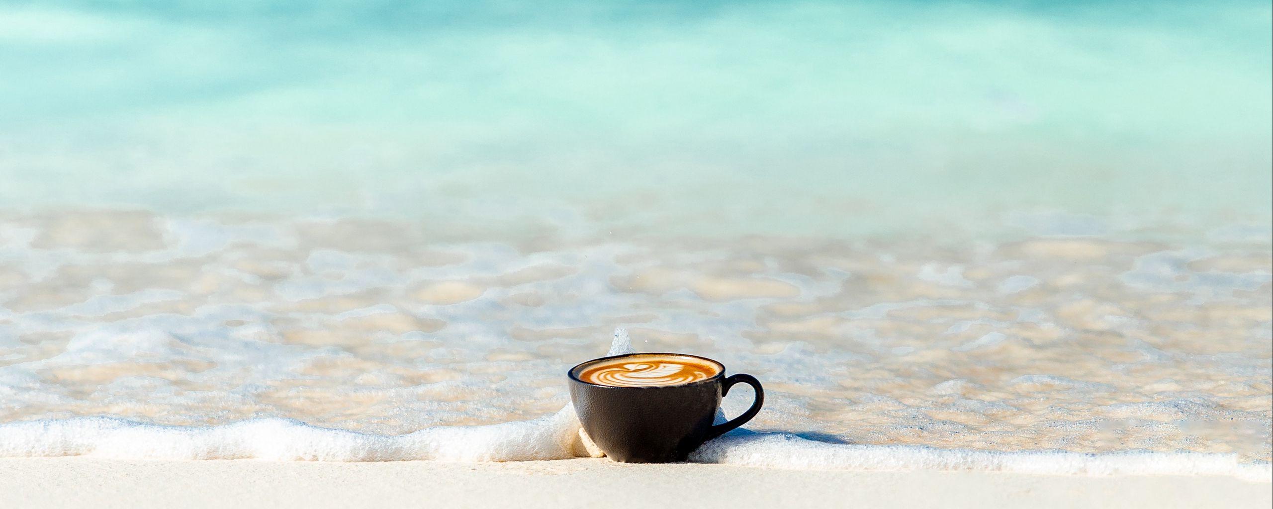 2560x1024 Wallpaper cup, ocean, sand, coast, minimalism