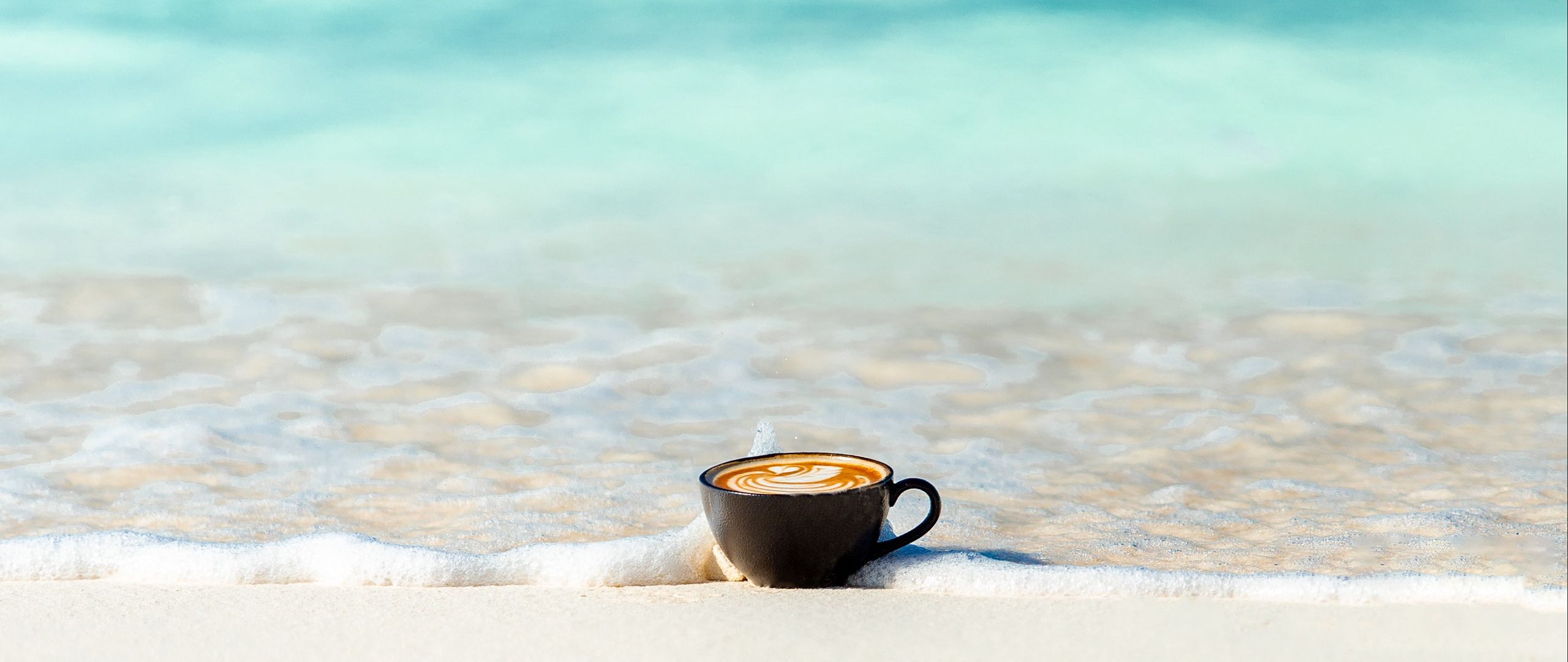 2560x1080 Wallpaper cup, ocean, sand, coast, minimalism