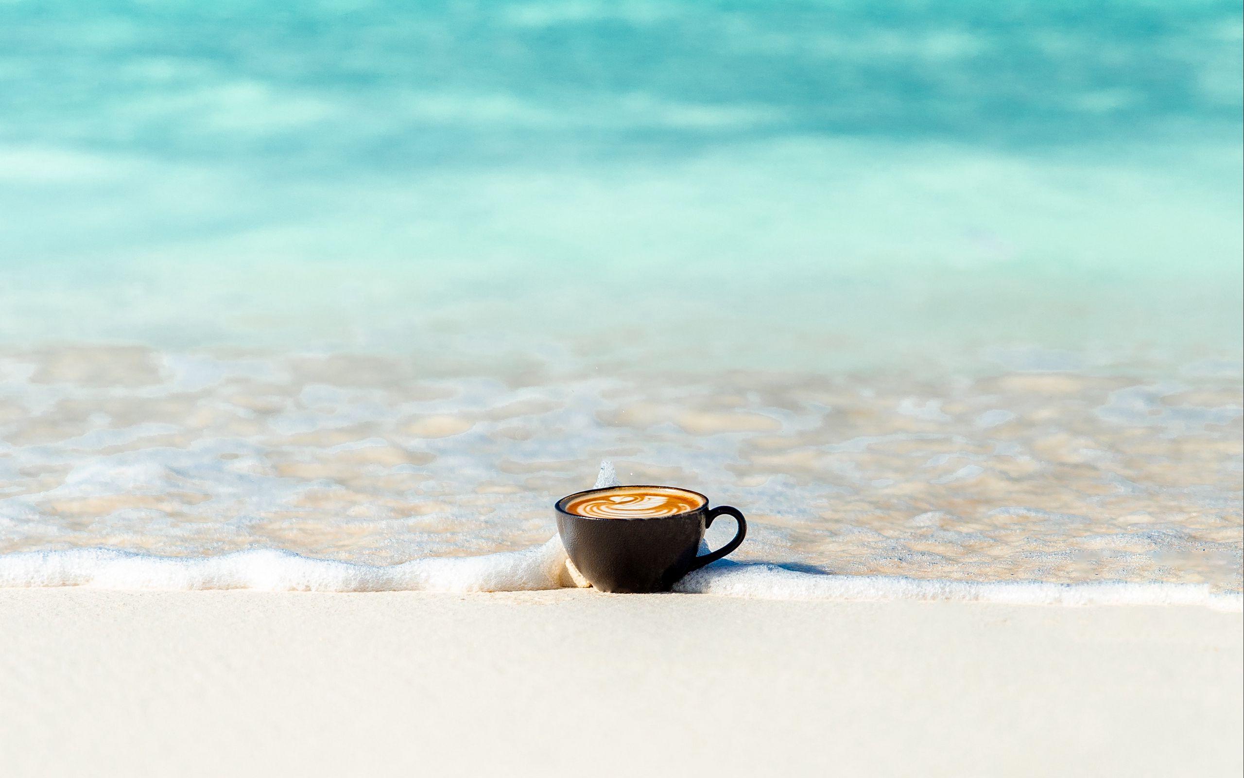 2560x1600 Wallpaper cup, ocean, sand, coast, minimalism