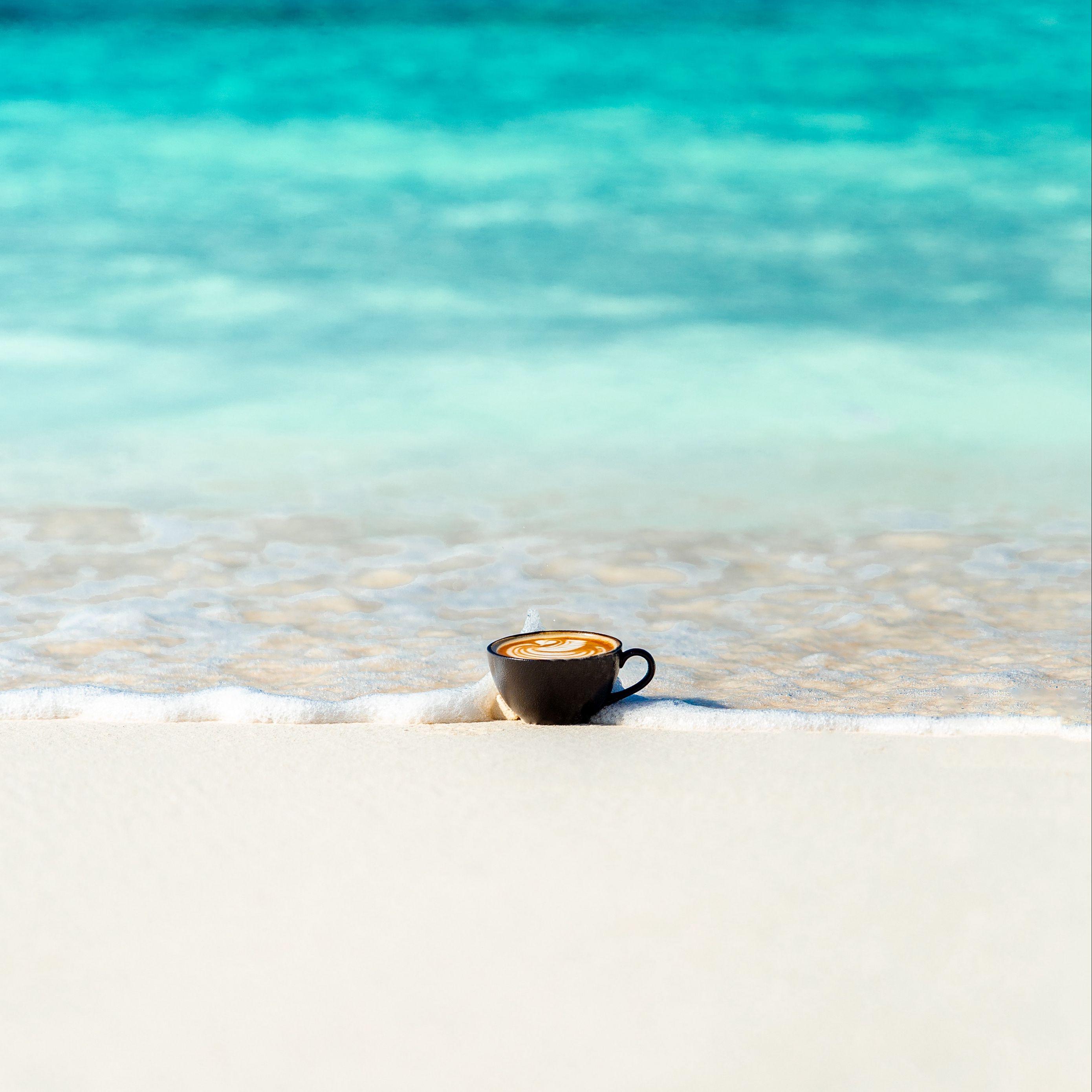 2780x2780 Wallpaper cup, ocean, sand, coast, minimalism