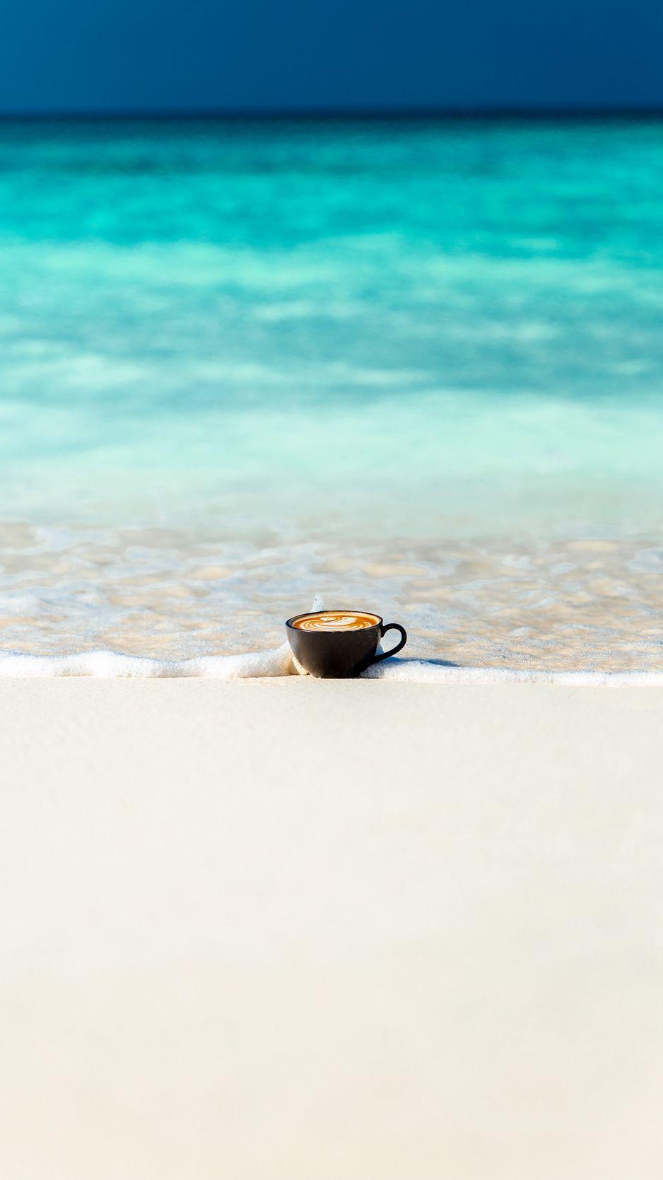 938x1668 Wallpaper cup, ocean, sand, coast, minimalism