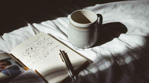 Preview wallpaper mug, pen, notebook, mood, shadows