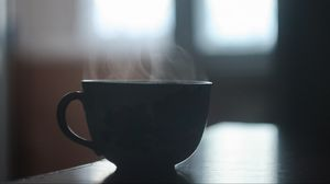 Preview wallpaper cup, steam, table, shadow
