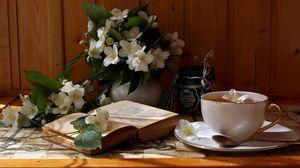 Preview wallpaper cup, tea, flowers, tea party
