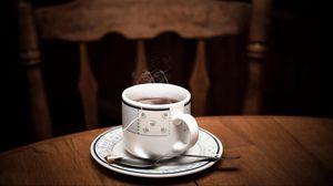 Preview wallpaper cup, tea, table, drink, vapor