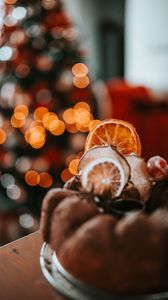 Preview wallpaper cupcake, pastries, dried fruits, dessert, christmas, cozy