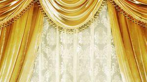 Preview wallpaper curtains, gold, velvet curtains, damask