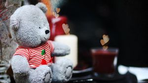Preview wallpaper cute, teddy bear, candles, hearts, teddy, love