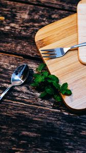 Preview wallpaper cutting board, fork, mint, spoon