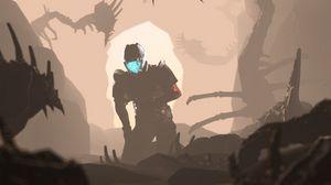 Preview wallpaper cyborg, cave, fiction, sci-fi, art