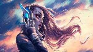 Preview wallpaper cyborg, headphones, robot, girl, piercing