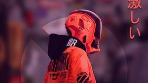Preview wallpaper cyborg, mask, cyberpunk, helmet, red