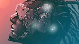 Preview wallpaper cyborg, mask, helmet, wires, art