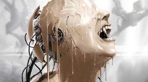 Preview wallpaper cyborg, paint, robot, vampire, fangs