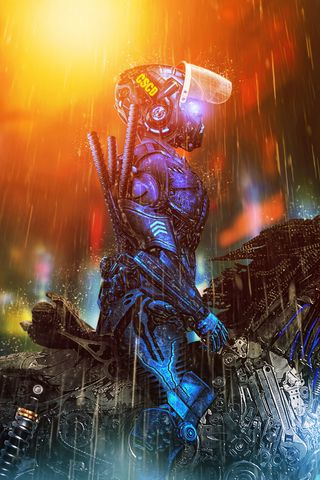 320x480 Wallpaper cyborg, rider, cyberpunk, art