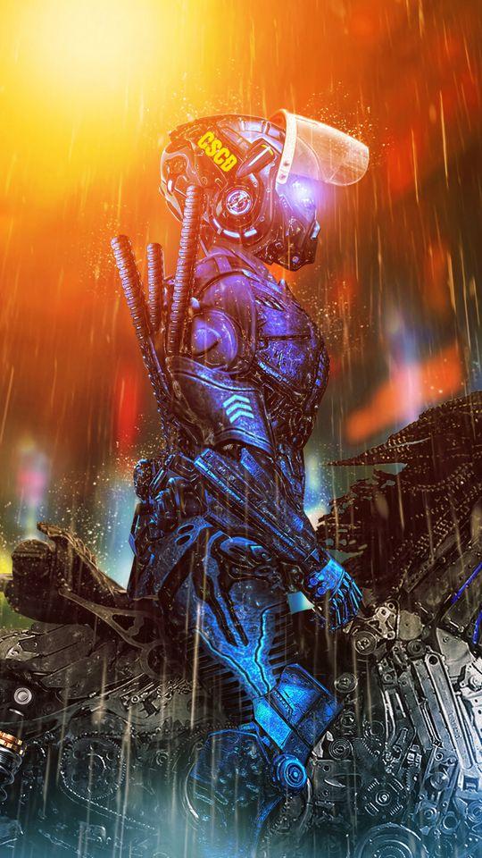 540x960 Wallpaper cyborg, rider, cyberpunk, art