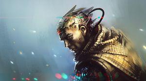 Preview wallpaper cyborg, robot, art, armor, metal